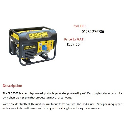 2 8kW Champion Petrol Generator CPG3500 Single Phase